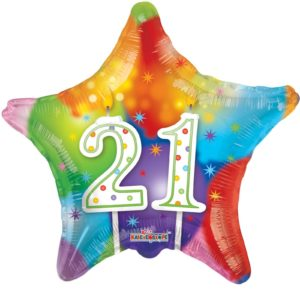 Kaleidoscope Brands 21st Birthday Star Foil Helium Balloon 18″