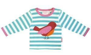 Toby Tiger Unisex Baby Organic Long Sleeve Bird Applique T – shirt