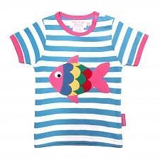 Toby Tiger Blue Stripe Fish Applique Short Sleeve T Shirt