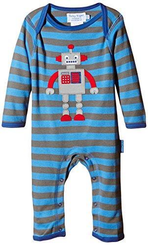 07bbd2fa7e Toby Tiger Grey Blue Stripe Robot Applique Sleepsuit - Catfish Kids