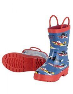 Hatley Boys' Monster Boats Rain Boots, Blue (Blue), 10 Child UK 27 EU