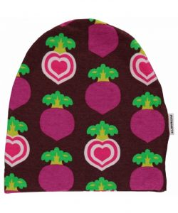 Maxomorra Polka Beet Velour Lined Hat