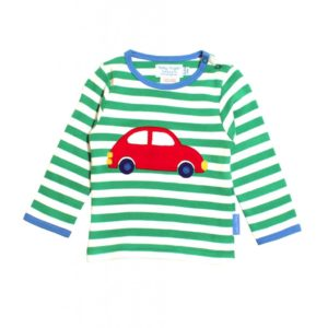 Toby Tiger Green White Stripe Car Applique Long Sleeve T Shirt