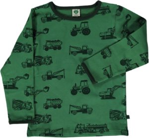 Smafolk Elm Green Machines Print Long Sleeve Top