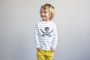 Bob and Blossom Pale Grey Breton Stripe Pirate Top