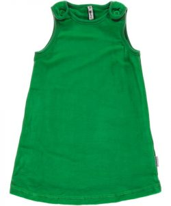 maxomorra Green Basic Velour Pinafore Dress