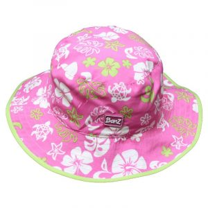 Banz Reversible UV Bucket Sun Hat – Lilac Pink Flowers Baby Age 0-2 years