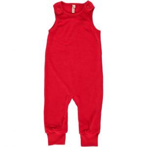 Maxomorra Red Velour Playsuit Dungarees