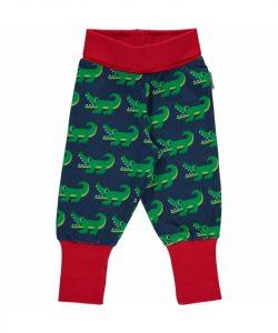 Maxomorra Navy Crocodile Print Rib pants