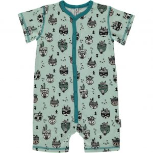 Maxomorra Animal Mix Organic Cotton Short Sleeve Button Rompersuit