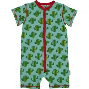 Maxomorra Cactus Organic Cotton Short Sleeve Button Rompersuit