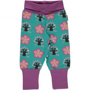 Maxomorra Cherry Blossom Organic Cotton Rib Pants