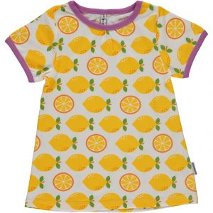 Maxomorra Lemon Print Organic Cotton Short Sleeve A Line Top