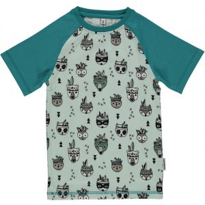 Maxomorra Pale Blue Animal Mix Organic Cotton Slim Fit Short Sleeve Top