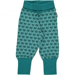 Maxomorra Toothed Whale Organic Cotton Rib Pants