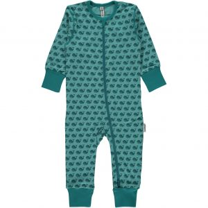 Maxomorra Toothed Whale Organic Cotton Zip Rompersuit
