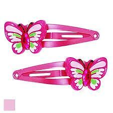 Pink Poppy Butterfly with Gem Centre Hairclips