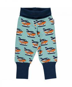 Maxomorra Turquoise Sea Plane Print Rib pants
