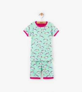 Hatley Mint Green Roly Poly Unicorns Organic Cotton Short Pyjamas