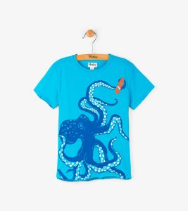 Hatley Turquoise Wave Catching Octopus Tee Shirt