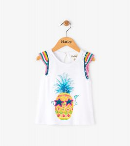 Hatley White Sweet Pineapple Crochet Trim Tank