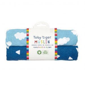 Toby Tiger Blue Cloud Organic Cotton 2 Pack Muslin Cloths