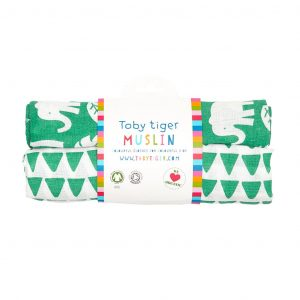 Toby Tiger Green Jungle Organic Cotton 2 Pack Muslin Cloths