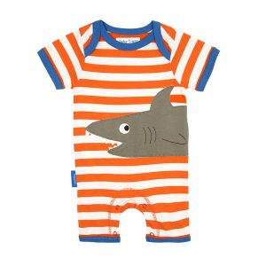 Toby Tiger Shark Applique Short Romper