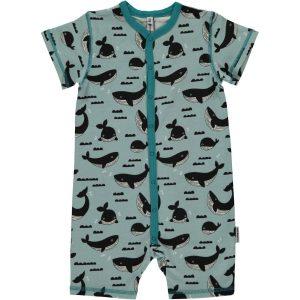 Maxomorra Ocean Whale Short  Button Rompersuit