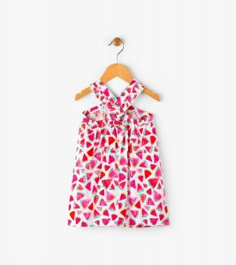 Hatley White Juicy Watermelon Print Mini Crossover Dress