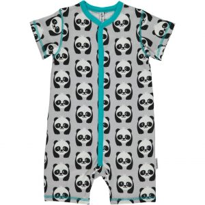 Maxomorra Panda Short  Button Rompersuit