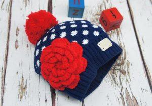 Blade and Rose Crochet Flower Bobble Hat