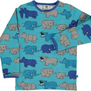 Smafolk Atoll Blue Rhino and Elephant print Short Sleeve Top