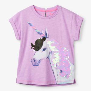 Hatley Lilac Flip Sequin Unicorn Graphic Tee