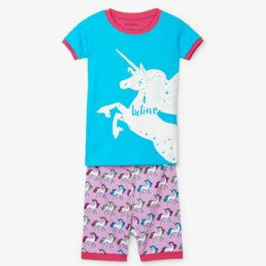 Hatley Rainbow Unicorns Applique organic Cotton Short Pyjamas