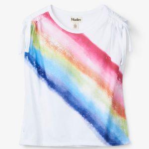 Hatley White Rainbow Cinched Shoulder Tee