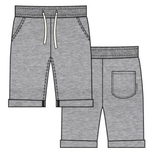 SS19 Maxomorra Light Grey Melange Knee Length Sweatshorts