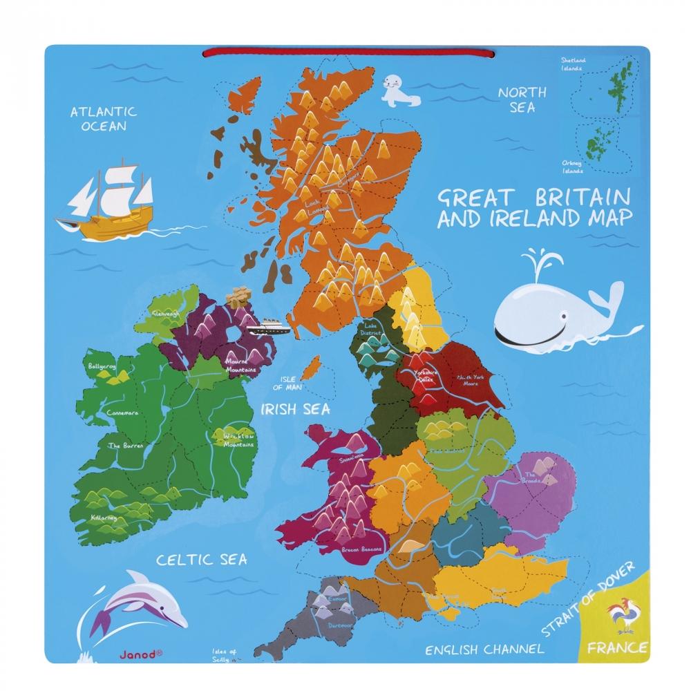 Kids Map Of Ireland.Janod Magnetic Great Britain Ireland Map Catfish Kids