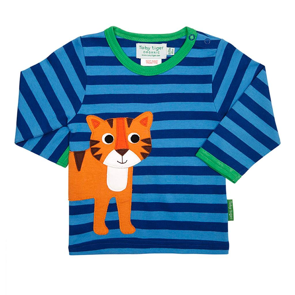 54cef5820a693 Toby Tiger Tiger Wrap Around Long Sleeve Applique Tee Shirt - Catfish Kids