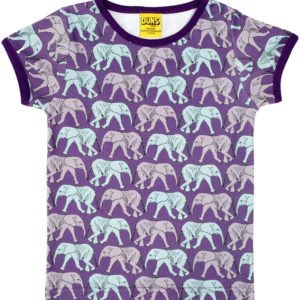 Duns of Sweden Purple Elephant Walk Short Sleeve Top