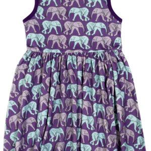 Duns of Sweden Purple Elephant Walk Gathered Dress