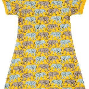 Duns of Sweden Yellow Elephant Walk Short Sleeve Dress