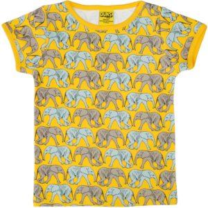 Duns of Sweden Yellow Elephant Walk Short Sleeve Top