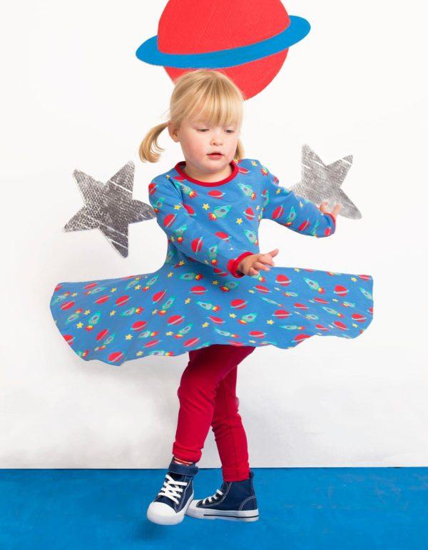 Toby Tiger Space Print Long Sleeve Skater Dress